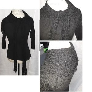 Black Fringe Scarf Top Small By Population